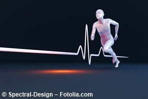 Measurement of physiology properties in a runner. 3D rendered Illustration.